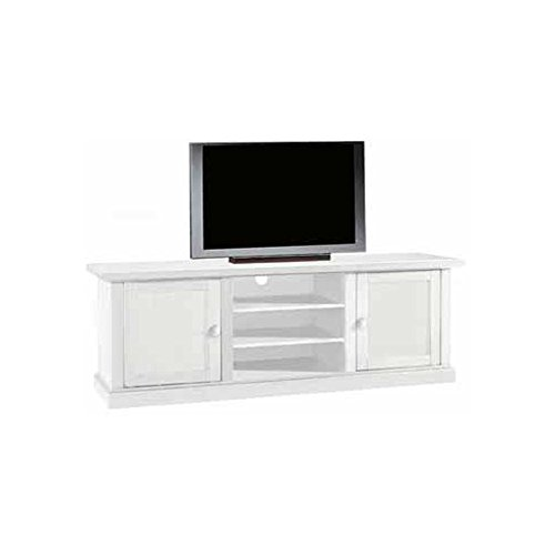 Meuble TV, Style Classique, en Bois Massif et MDF avec Finition Blanc Mat - Dim. 46 x 160 x 56