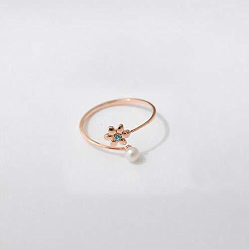 Aoligei Einstellbarer Ring S925 Sterling Silber Einfache Blume Shell perlenring Freundin Geburtstagsgeschenk