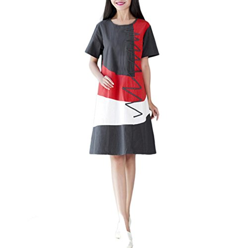 Huichang Women Short Sleeve O Neck Patchwork Cotton Linen Loose Boho Casual Dress