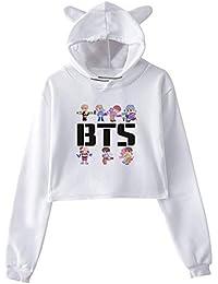 BTS Sudaderas con Capucha Ocasionales Mujer Cropped Sweater Estampados  Suéter Tendencia Jerseys Manga Larga Camisetas Bonita caf06ffdd015