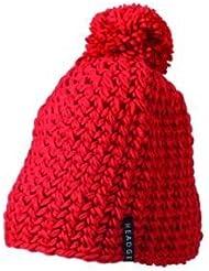 Myrtle Beach Häkel-Mütze mit Bommel einfarbig, Farbe:red