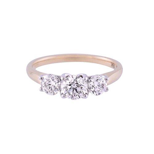925Argento Sterling placcato oro giallo 9ct Round Brilliant 3pietra anello di fidanzamento con zirconia cubica da 1.00ct, Argento, 56 (17.8), cod.