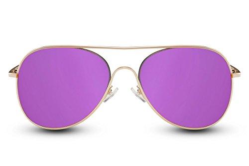 Cheapass Sonnenbrille Verspiegelt Violett Lila UV-400 Pilot-en Exklusiv-e Designer-Brille Metall-Rahmen Damen Mädchen