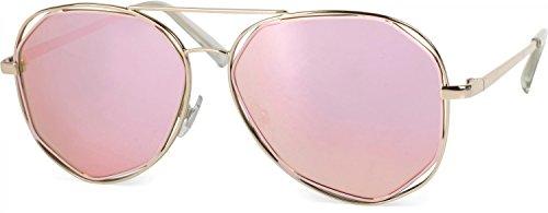 styleBREAKER Duochrome Effekt Sonnenbrille, Aviator Pilotenbrille mit eckigen Gläsern und...