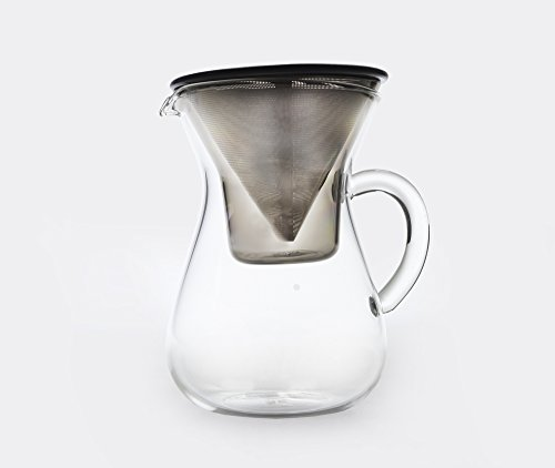 Scs Kinto Vertido Sobre Juego De Café - Vidrio Brewer Jarra Con Acero Inoxidable Cono Filtro De Goteo - 300ml