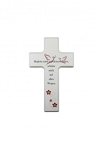Holzkreuz, Ahorn weiß lackiert 'Begleite mich mit...'
