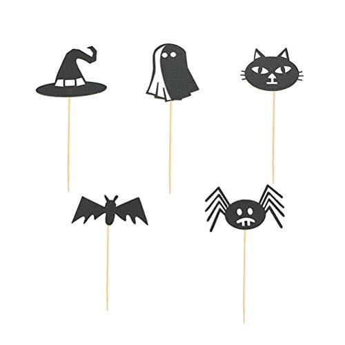 NUOBESTY 15 Stücke Halloween Kuchen Dekoration Schwarze Katze Geist Hexe Kappe Fledermaus Spinne Cupcake Topper (Schwarze Katze Cupcakes Halloween)