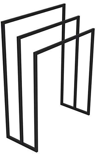 HOLZBRINK Metall Handtuchhalter für Badezimmer Kleiderständer Freistehender Handtuchständer mit 3 Stangen, Tiefschwarz, 90x70x30 cm (HxBxT), HLMH-02B-90-70-9005 -