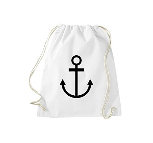 Shirtinstyle Gym Sack Turn Bag Borsa Cult Capitano Marinaio Ancora Bianco
