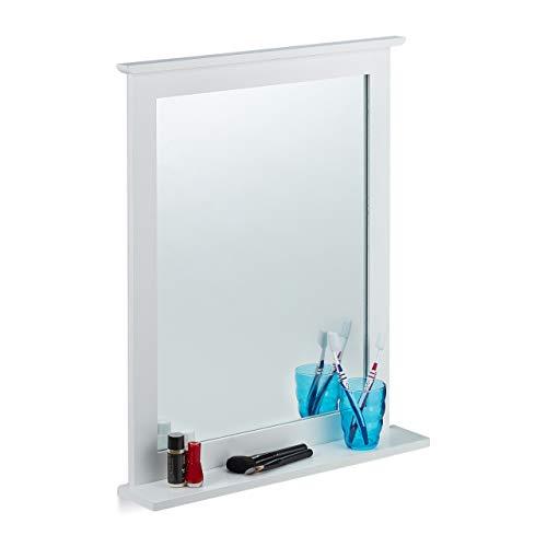 Relaxdays Wandspiegel Bambus, Ablage, Spiegel rechteckig, Wohnzimmer, Bad, Flur, Hängespiegel HBT 68 x 56 x 10 cm, weiß