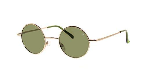 rainbow safety Damen Herren Sonnenbrille Polarisiert Runder Rahmen Stil Lennon Retro Hippi 2317 (2317D Gold Grün)