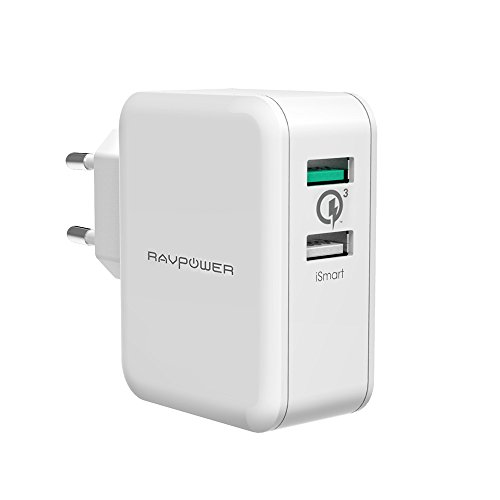 RAVPower USB Ladegerät Schnelle Ladefunktion 30 W 2-Port Ladeadapter mit QC 3.0 – bis zu 4X schnellere Aufladung für Galaxy S9 S8 S7 Edge, HTC One A9, Note 5, Nexus 6, Smartphones, Tablets, Weiß