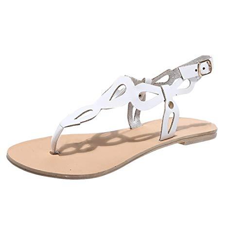 HupoopFrau Wohnungen Sommer Sandalen Mode Casual Schuhe Rom Stil Gladiator Sandalen(Weiß,43) (Bikini-tops Hohen Hals Junior)