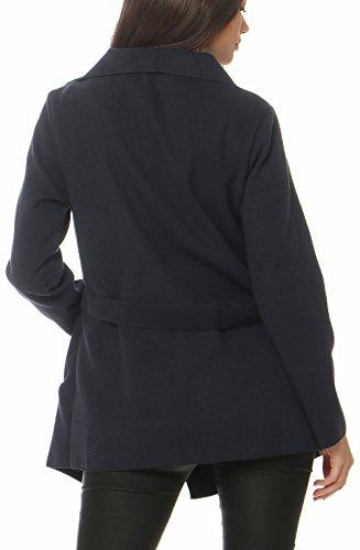 malito Damen Mantel kurz mit Wasserfall-Schnitt | Trenchcoat mit Gürtel | weicher Dufflecoat | Parka