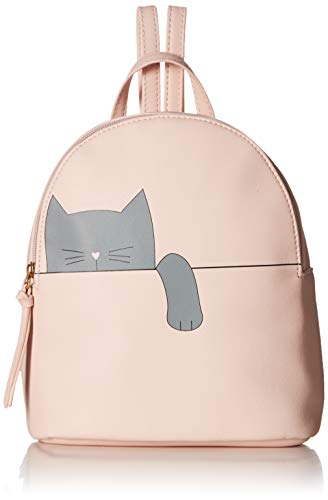 Cat Damen Rosa T-shirt (T-Shirt & Jeans Damen Hängende Katze, Rucksack in Rosa (Hanging Cat Backpack in Blush), Einheitsgröße)