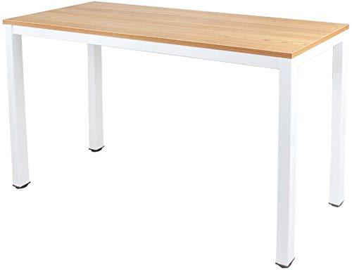 Need Computertisch Schreibtisch 100x60 cm PC Tisch Bürotisch Arbeitstisch Esstisch für Home Office, Teak&Weiß AC3BW-100