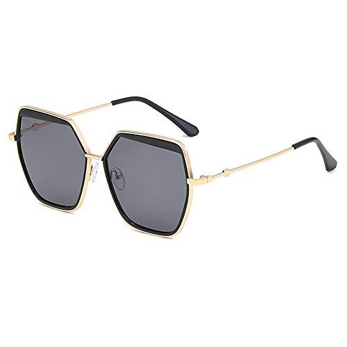 Z&HA Frauen Sonnenbrillen Oversized Hexagonal Metal Frame and Gradient Linsen UV400 Schutzbrillen für Männer Fahren Reisen,BlackGray