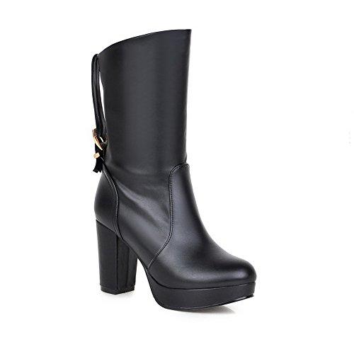 AgooLar Damen Mittler Absatz Blend-Materialien Mitte-Spitze Rein Ziehen auf Stiefel, Schwarz, 34