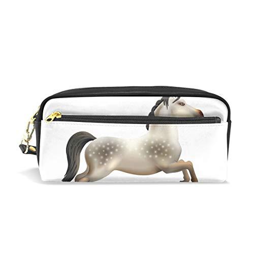 imobaby Karussell Pferde isolierte tragbare Tasche PU Leder Schule Stifteetui Stationäre Bleistifttasche für Kinder Wasserdicht Kosmetik Tasche Make-up Beauty Case (Pferd Stationär)