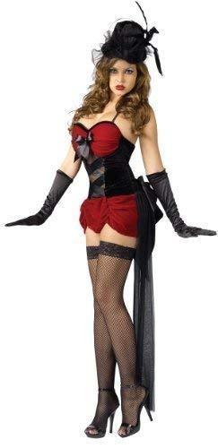 Fancy Me Damen Rote Schwarz Sexy Burlesk Tänzer Vegas Kabarett Showgirl Junggesellinnenabschied Kleid Kostüm Schuhe - Rot/schwarz, 10-12