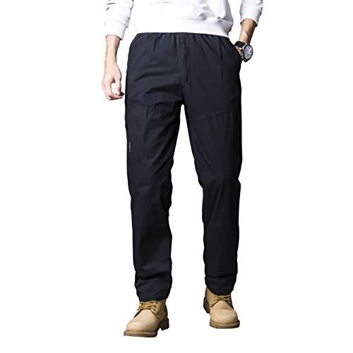 Gmardar Pantaloni Uomo Cargo Pantaloni da Lavoro con Multitasca Tasche Elastica Vita Elegante Cotone 100% Larghi Fit Casual Regular Taglie Forti Diversi Colori (Blu Scuro -V Cerniera, 4XL)
