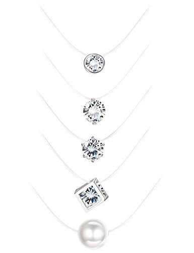 Milacolato 5 Stücke Transparent Angelschnur Halskette Solitaire Blendend Zirkon Clear Pearl Choker Halskette Schmuck