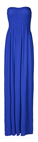 Größe Maxi-kleid Blau Plus (Fast Fashion Damen Maxi Kleid Plus Größe Plain Umführungsvorrichtung Bandeau)
