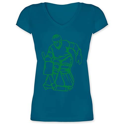 Eishockey - Eishockey - M - Türkis - XO1525 - Damen T-Shirt mit V-Ausschnitt