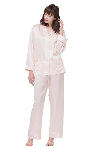 Lilysilk Schick Seide Schlafanzug Seide Pyjama Set Damen Lang mit weißem Besatz 22 Momme (XX-Large, Hell Rosa) (Schlafanzug Seide)