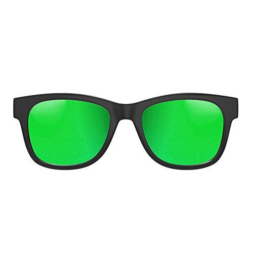 VocalSkull Knochenleitung Bluetooth 4.1 Sonnenbrille Drahtloser Stereo Kopfhörer Wasserdicht Wireless Polarisierte Sports Mikrofon für IOS/Android/PC Mattiert Grün(Anti-blaues Licht)