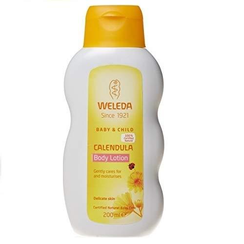 WELEDA Baby Calendula Pflegemilch - Body Lotion, sanfte Pflegelotion, Hautpflege für Babys und Kleinkinder, (1 x 200 ml)