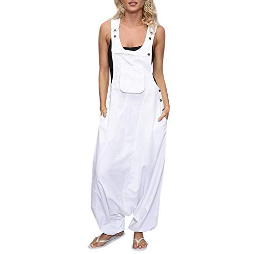 KIMODO® Damen Ärmellos Jumpsuits rückenfreie U-Ausschnitt Playsuit mit Seitentaschen Baggy Lang Overall Große Größen -