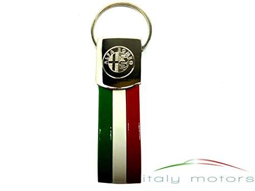 Alfa Romeo Schlüsselanhänger Chromstahl mit Emblem / Logo eingraviert und Tricolore