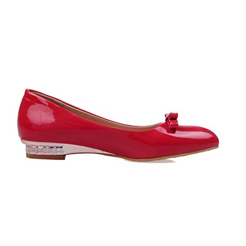 VogueZone009 Damen Spitz Zehe Ziehen Auf Pu Leder Rein Niedriger Absatz Pumps Schuhe Rot