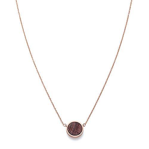 KERBHOLZ Holzschmuck - Geometrics Collection Circle Necklace Damen Halskette mit Anhänger aus Naturholz, roségold, größenverstellbar (Kettenlänge 38 + 5 cm)