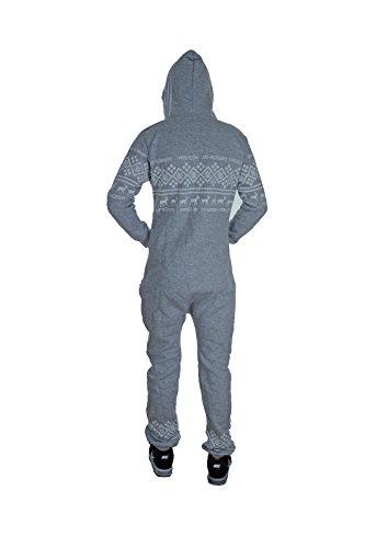 Jumpsuit Overall Norway-Fashion für Damen und Herren Strampler Ganzkörperanzug mit Renntier Muster S M L XL Hellgrau -Herren