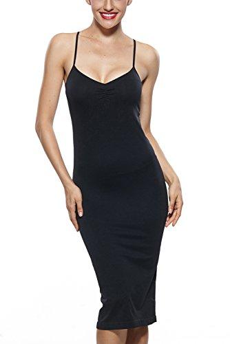 Franato Damen Figurformende Miederkleid Body Shapewear Unterkleid Lang Black L