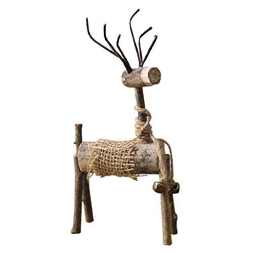 SUPVOX Decoraciones de figurillas de Renos navideños de Madera con Baya de Acebo Adornos de Mesa de Navidad Regalos (Ciervos machos)