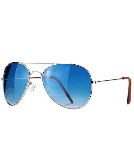 caripe Aviator 70er Sonnenbrille Pilotenbrille Fliegerbrille Damen Herren verspiegelt + getönt (gold - blau getönt-705f)