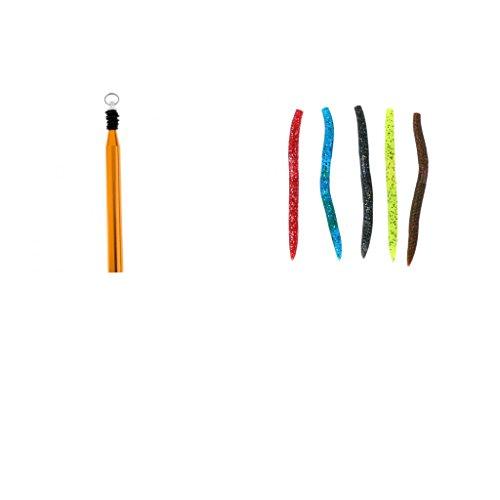 Sharplace Angeln O-Wacky Werkzeug und O-Ringe mit Weiche Regenwurm Kunst Köder - Angeln Köder Gold (Verrückte Oring)