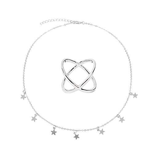 Maleya 1 STÜCK Kreative Stern Halskette Joint Ring Anhänger Frauen Geschenk Set bib Party Retro-Stil Statement Halsketten, Vintage Grau Strass Ovalen Charme Anhänger Große Baumelnde Lange Cheerleader-fleece