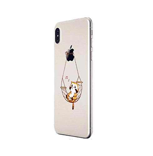 Sycode Custodia per iPhone X,Cover per iPhone X,Silicone Trasparente Case per iPhone X,Liquido Cristallo Chiaro Carina Divertente Motivo Amaca Gatto Morbida Flessibile Silicone Gel Anti Graffio Gomma  Amaca Gatto