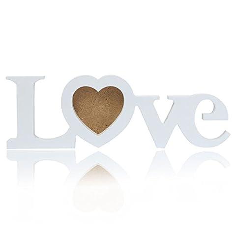Bluelover Adore en bois photo cadre Photo romantique bricolage mariage amoureux cadeau Home décoration de la chambre-blanc