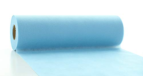 Vlies-Tischläufer Tischband HELL-BLAU 30cmx20m   abwaschbar   Tischdeckenrolle stoffähnlich   Feier   Geburtstag   Party   Taufe   Kommunion   Konfirmation (auf der Rolle) (Tischläufer Blau)