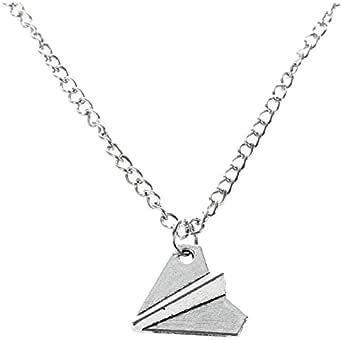 Fransande Fashion - Collana con aereo in carta, motivo: Harry Styles, colore: argento