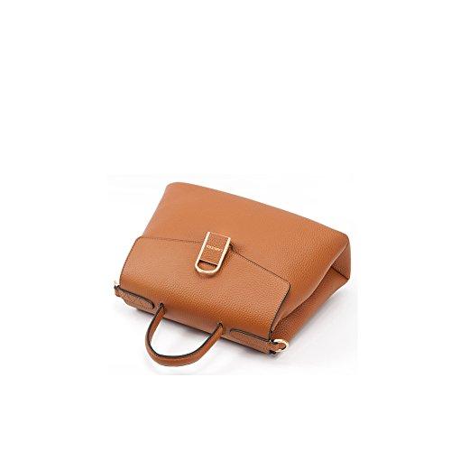 Yvonnelee delle donne di modo del sacchetto di cuoio della borsa spalla dell'unità di elaborazione borsa a tracolla pelle Shopper elegant Borse Marrone