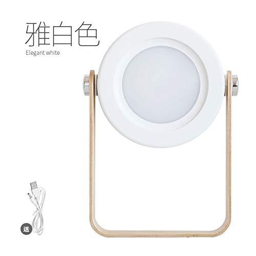 Protable 2W Hang Lampe Drahtlose Tischlampe Nachtlicht Falten Verstellbar Dimmabel Holz Tischnacht Mit Usb Aufladung, A