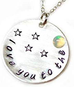 Ladyville Silber Kette Opal I love you to the moon 925