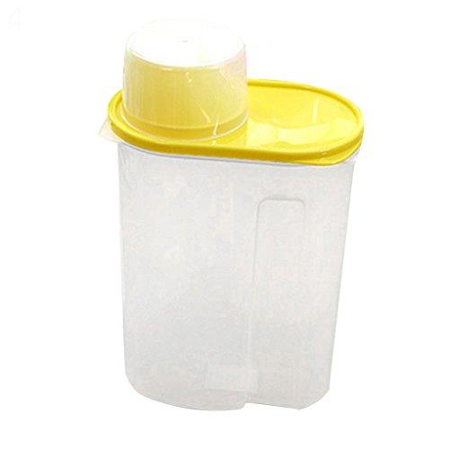 Arroz Granos de cereales dispensador de almacenamiento de alimentos secos contenedor tapa caja sellada 1,9/2,5L, plástico, Amarillo, 1,9 l