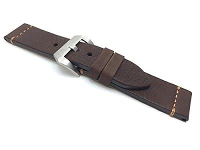 Correa para reloj de piel auténtica marrón para PANERAI de punto de grosor de 24mm, hebilla de correa, grande, una